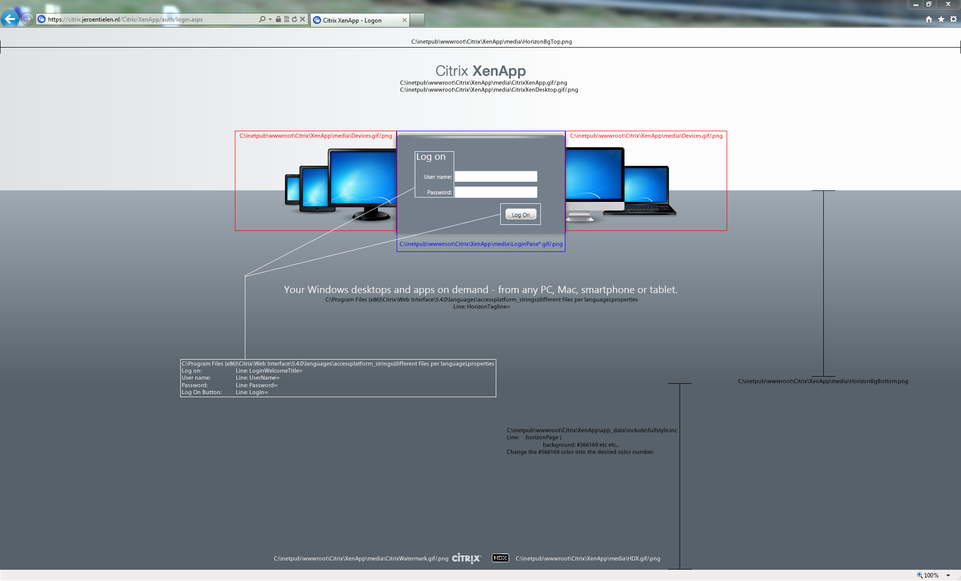 web screen: